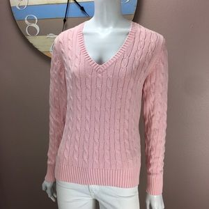Tommy Hilfiger V Neck Sweater Pink Cable Knit